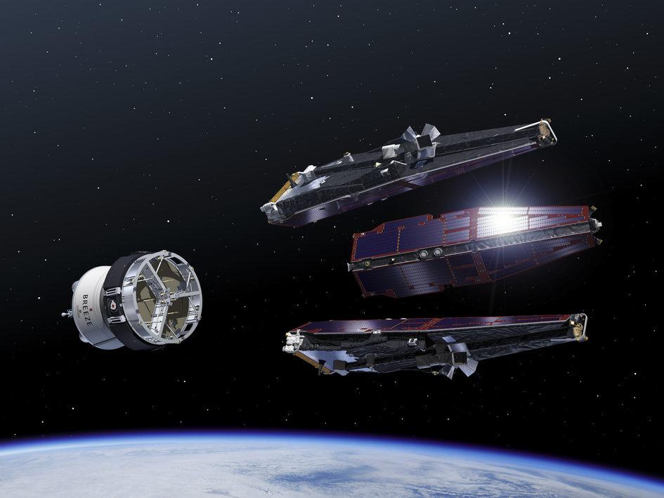 Vypuštění satelitů Swarm na oběžnou dráhu. Kredit: ESA–P. Carril.