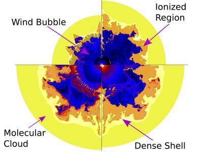 Vývoj bublin hmoty kolem Wolf-Rayetovy hvězdy v čase. Kredit: V. Dwarkadas / D. Rosenberg.