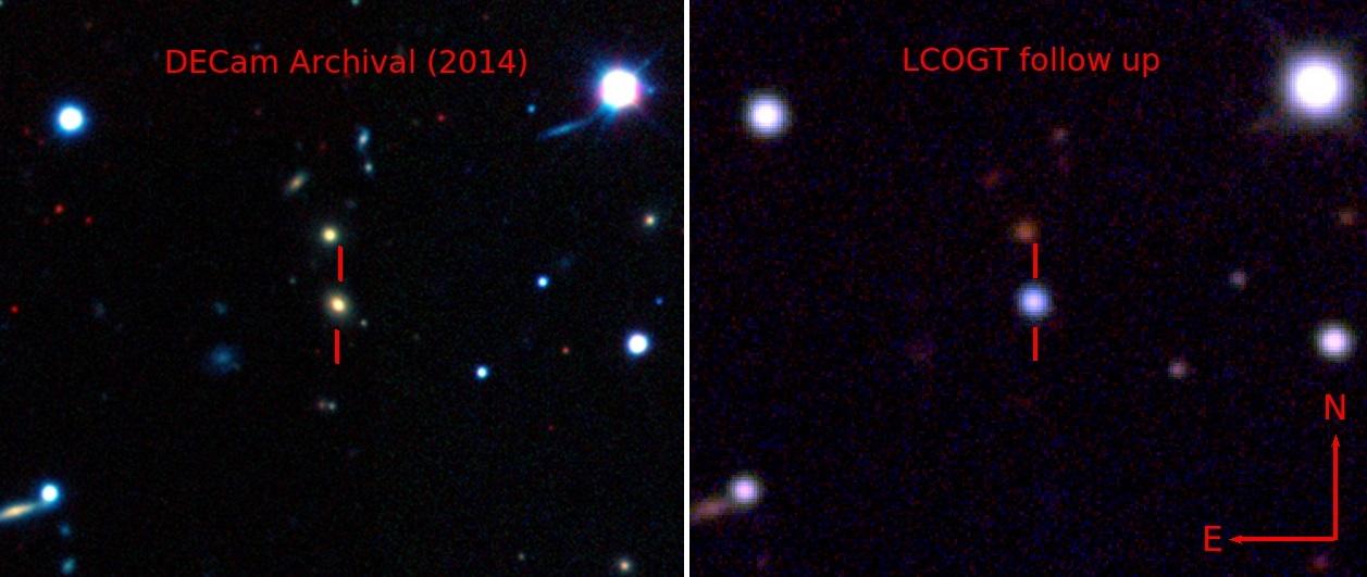 Hypernova ASASSN-15lh, jasnější než galaxie. Kredit: Benjamin