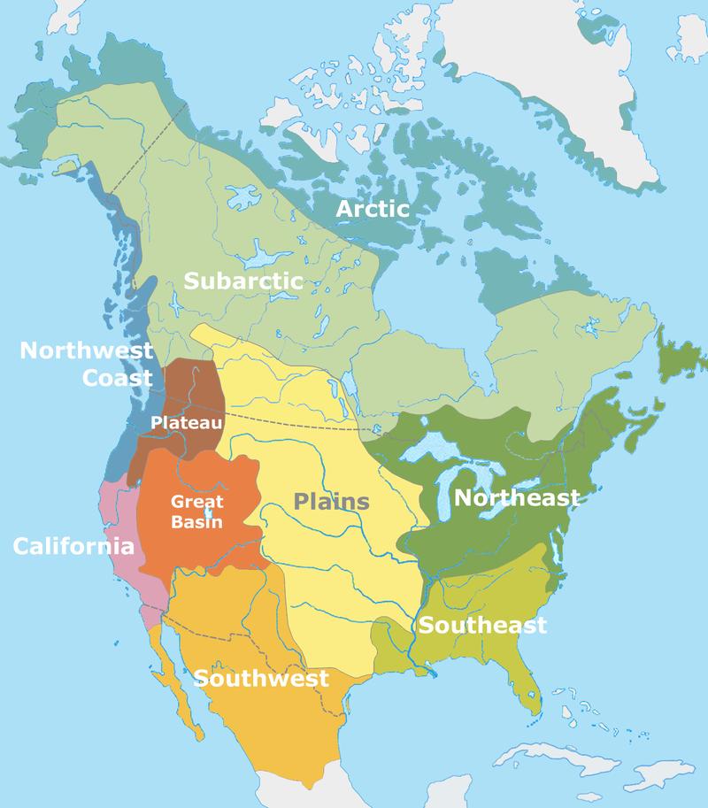 Přibližné rozdělení kulturních okruhů severoamerického území před příchodem evropských mořeplavců na přelomu 15. a 16. století. Původní obyvatelé dobře znali zkameněliny vyhynulých živočichů od budoucího Texasu a Nového M