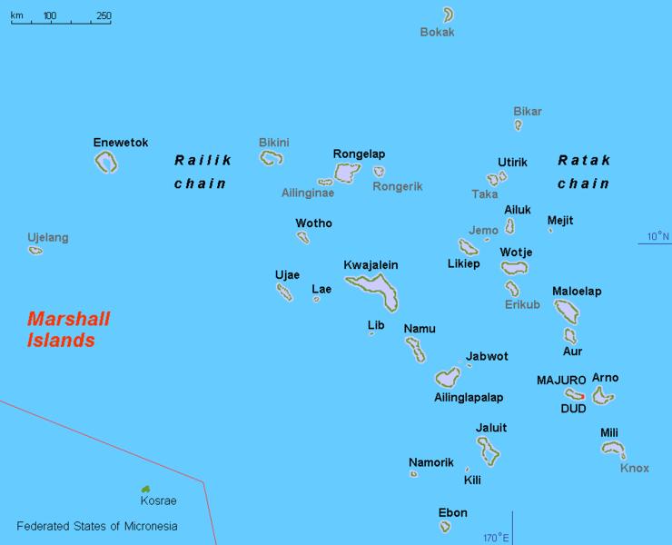 Marshallovy ostrovy. Bikini vhorní části. Kredit: Hobe / Wikimedia Commons.