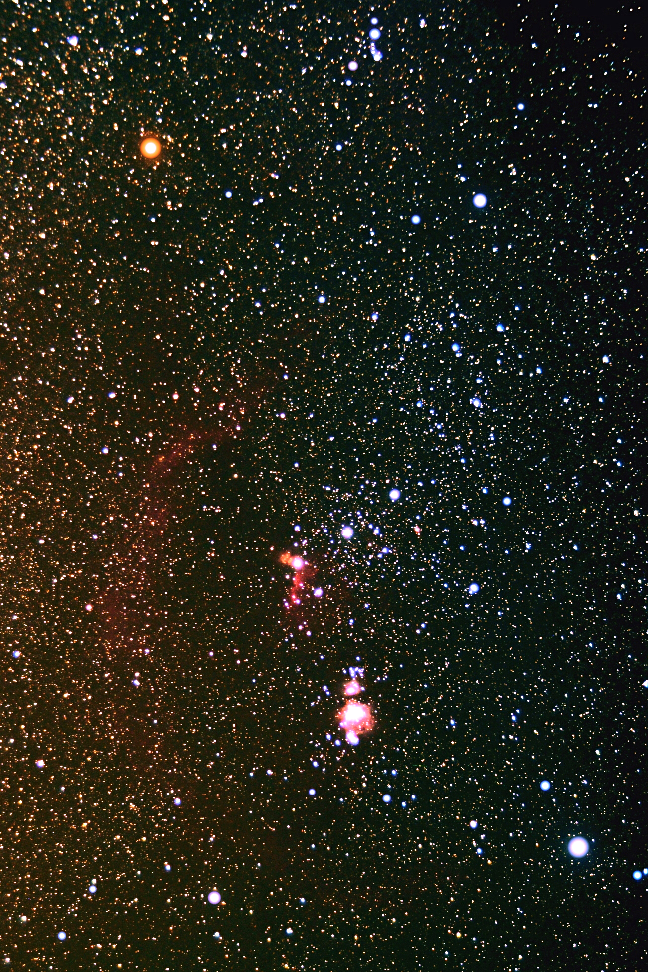 Betelgeuse se v Orionu nedá přehlédnout. Kredit: Tom Montemayor / University of Texas.