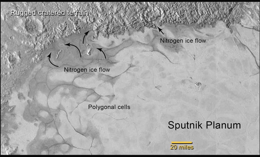 V horní části snímku vidíme útvary, které naznačují tok ledu, který ale není tvořený vodou. Zdroj: http://www.nasa.gov/