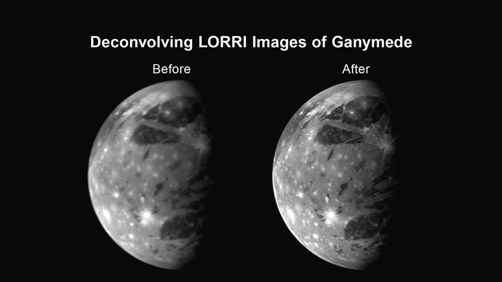 Ilustrační obrázek, který ukazuje, jak může dekonvoluce zlepšit obrázek z kamery LORRI – zde jupiterův měsíc Ganymed.  Zdroj: http://www.nasa.gov/