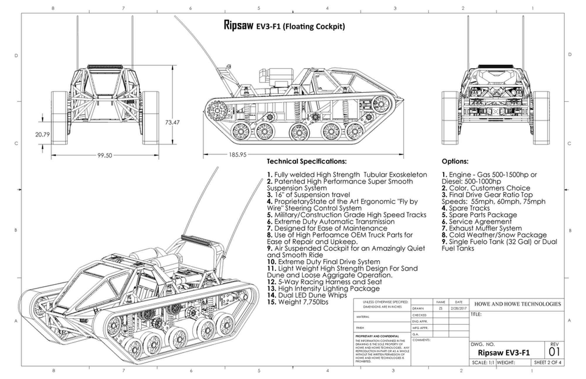 Specifikace supersportovního tanku Ripsaw EV3-F1. Kredit: Howe & Howe.