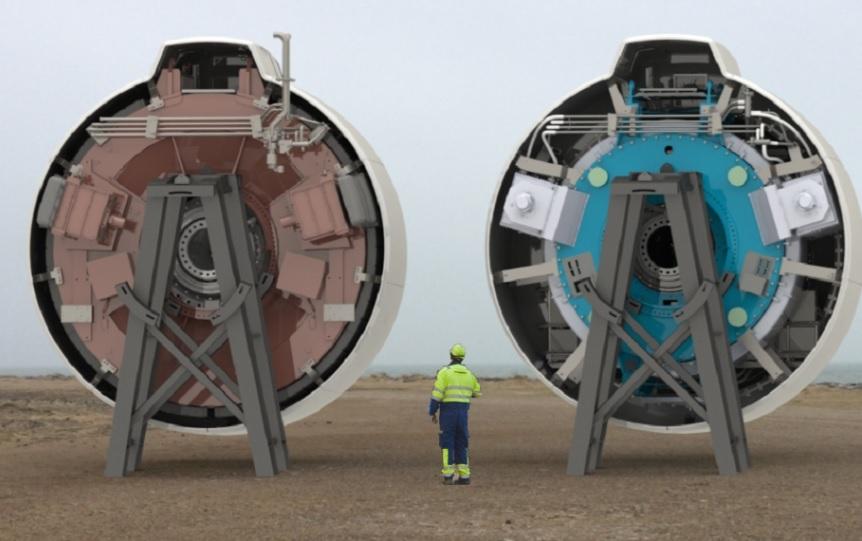 Na obrázku vpravo je dobře patrné o co je nový generátor menší. Kredit: EcoSwing.