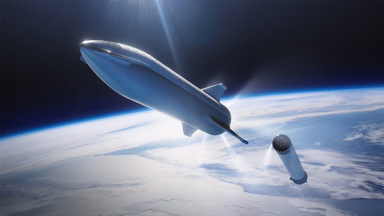 Starship míří kMarsu. Kredit: SpaceX.