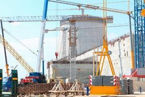 Výstavba jaderných bloků elektrárny Ostrovec v Bělorusku (zdroj BELTA).