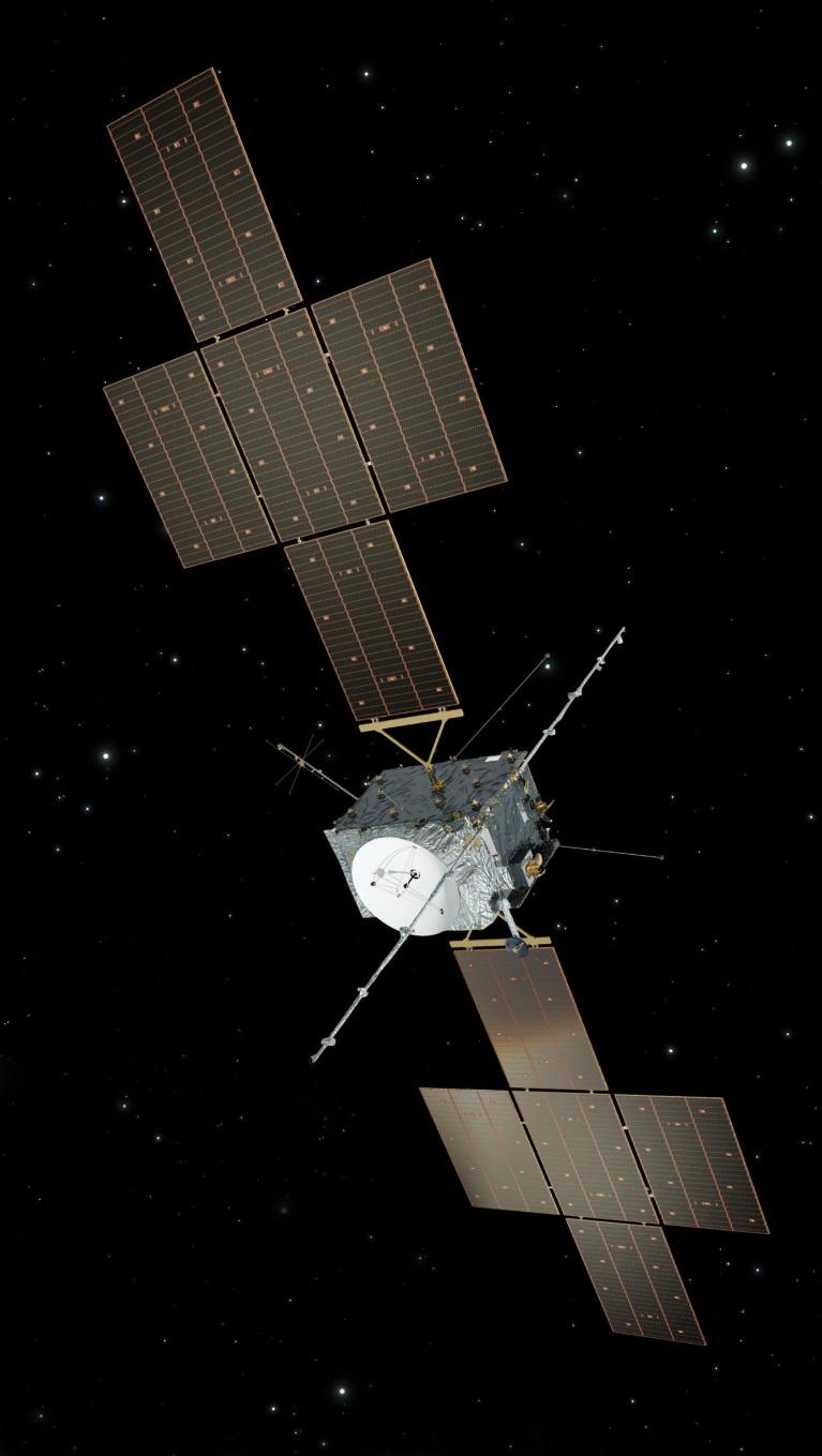Vizualizace sondy k Jupiteru JUICE, kterou připravuje evropská organizace ESA, bude také využívat fotovoltaické panely (zdroj ESA).