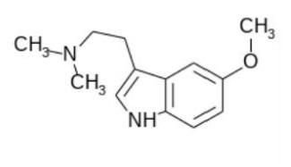 Struktura 5-MeO-DMT. Nakresleno v BKchem