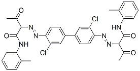 Pigment Yellow 14 na sluníčku degraduje za vzniku silně toxických produktů. (Kredit: Chemical Book)