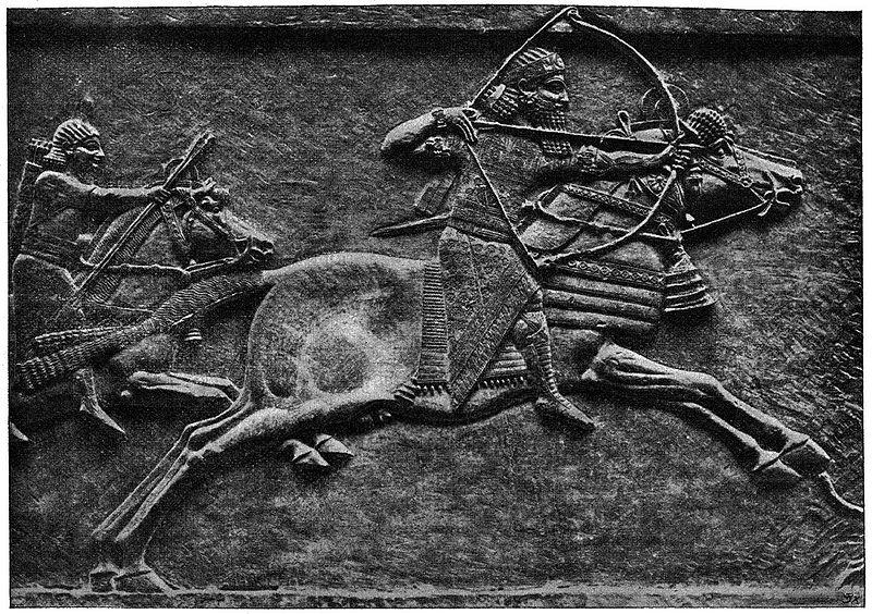 Král Aššurbanipal na lovu, palácový reliéf zNinive. Kredit: Wikimedia Commons.