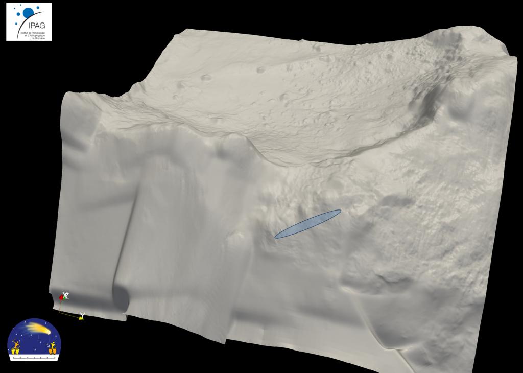 Kombinací dat v rádiovém oboru mezi modulem a mateřskou sondou byla určena oblast možného dopadu Philae o rozměrech 16x160 metrů.  Kredit: ESA/Rosetta/Philae/CONSERT
