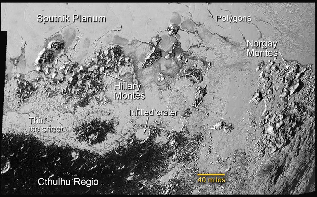 Jižní část oblasti Sputnik Planum.   Zdroj: http://www.nasa.gov/