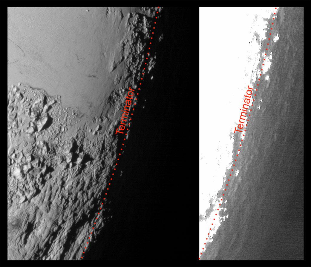 I za hranicí světla a stínu, tedy na noční straně, může být trocha světla. Paprsky se rozptylují v atmoséfře a jemně osvětlují noční stranu. Snímek napravo byl silně zesvětlený, aby byly lépe vidět útvary na povrchu.  Zdroj: