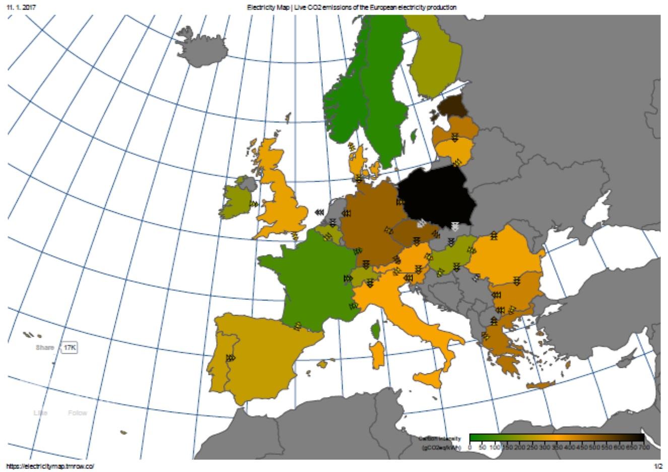 Produkce oxidu uhličitého v  elektroenergetice v Evropě v podzimní době, kdy fouká spíše méně, ukazuje, jaká je situace u různých evropských států. Čím zelenější, tím menší produkce oxidu uhličitého na jednotku vyrobené elektřiny. Čím tmavší hnědá až