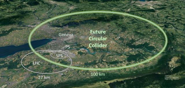 Schéma budoucího urychlovače FCC a jeho umístění v laboratoři CERN (zdroj CERN).
