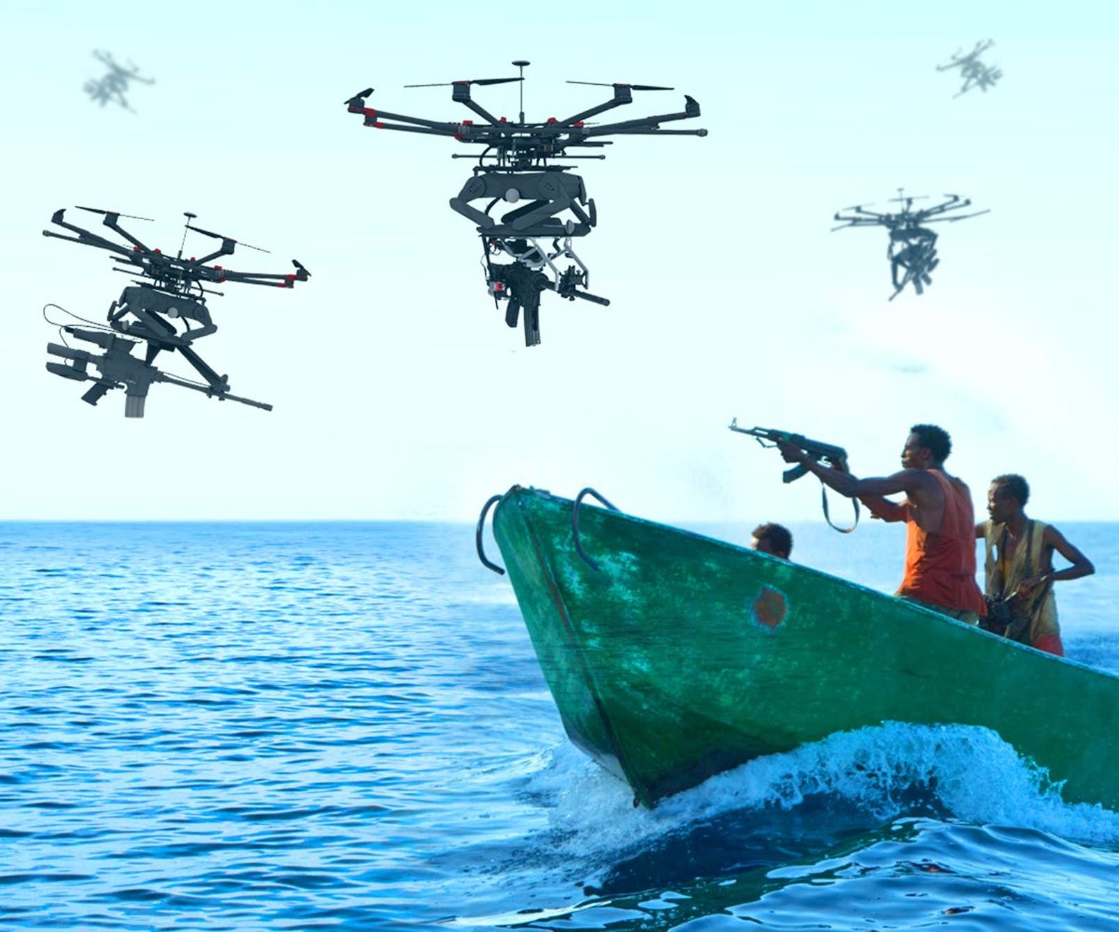 Drony proti pirátům. Kredit: Duke Robotics.