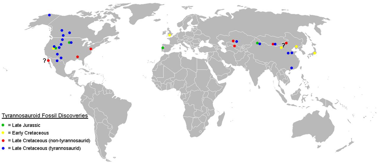 Zeměpisné rozšíření tyranosauridů zobrazují modré body na mapě světa (současné rozložení kontinentů). Na první pohled je zřejmé, že šlo o skupinu značně rozšířenou, ovšem zatím známou pouze ze Severní Ameriky a střední/východní Asie. Na kontinentech