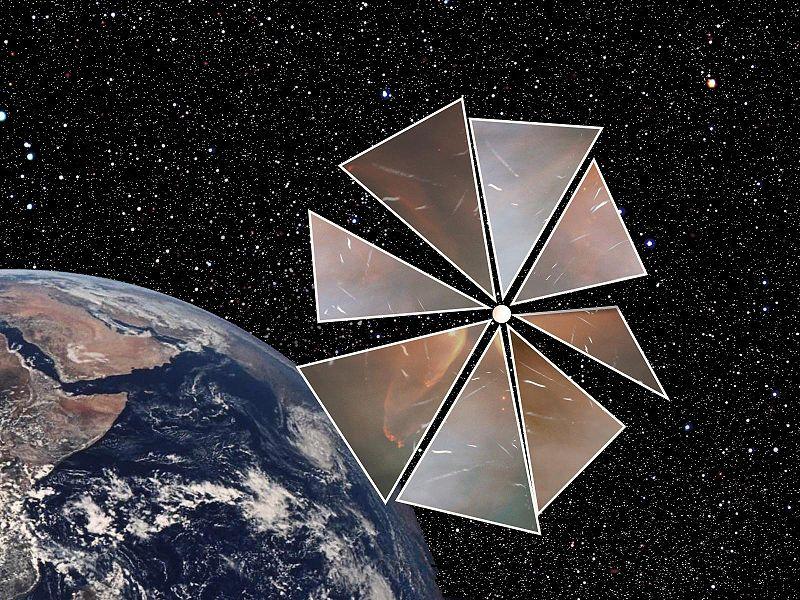 SluneÄŤnĂ plachta projektu Cosmos-1 (zdroj John Ballentine, Wiki)