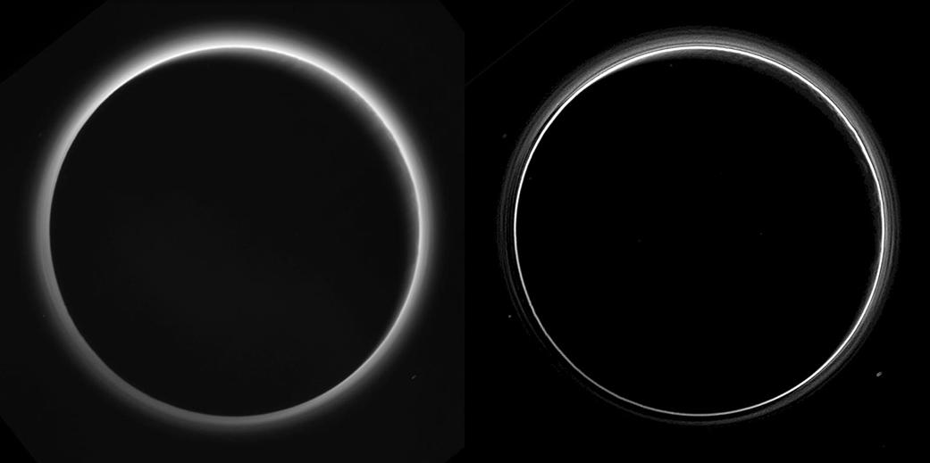 Tento snímek vznikl při zákrytu Slunce Plutem. trpasličí planeta je tu osvětlena z pravé horní strany, přičemž severní pól je nahoře. S minulých týdnech jsme sice viděli podobný snímek, ale tento už je nekomprimovaný, takže má