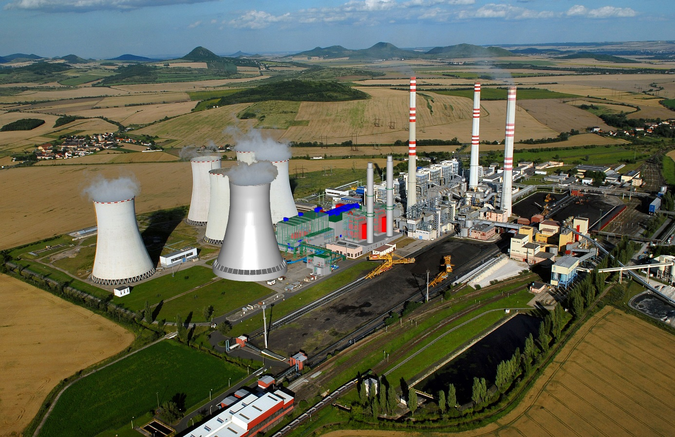 V  Počeradech jsou uhelné i paroplynový zdroj. Uvidíme, jak to bude s jejich využíváním v budoucnu (zdroj ČEZ).