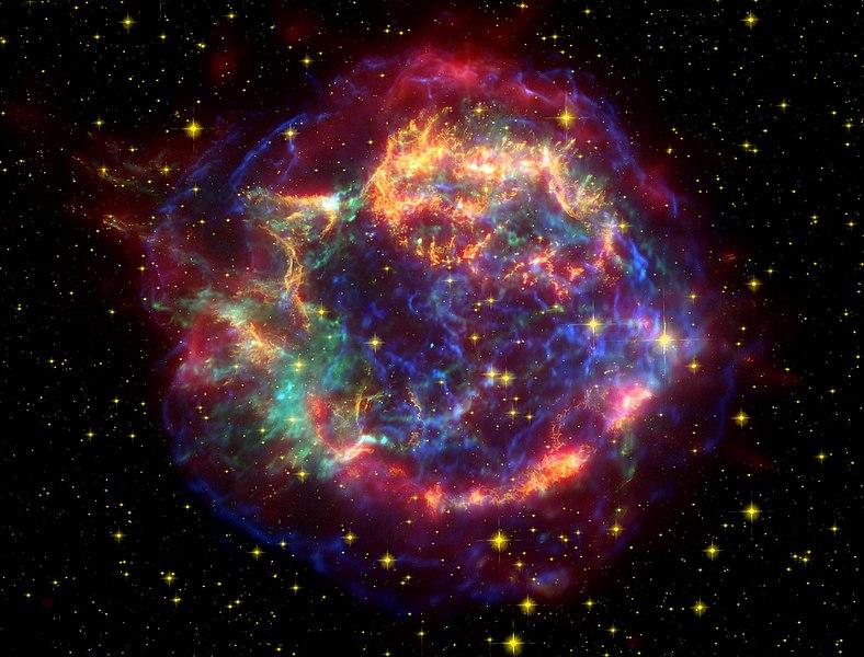 Pozůstatek supernovy Cassiopeia A. Kredit: NASA/JPL-Caltech.