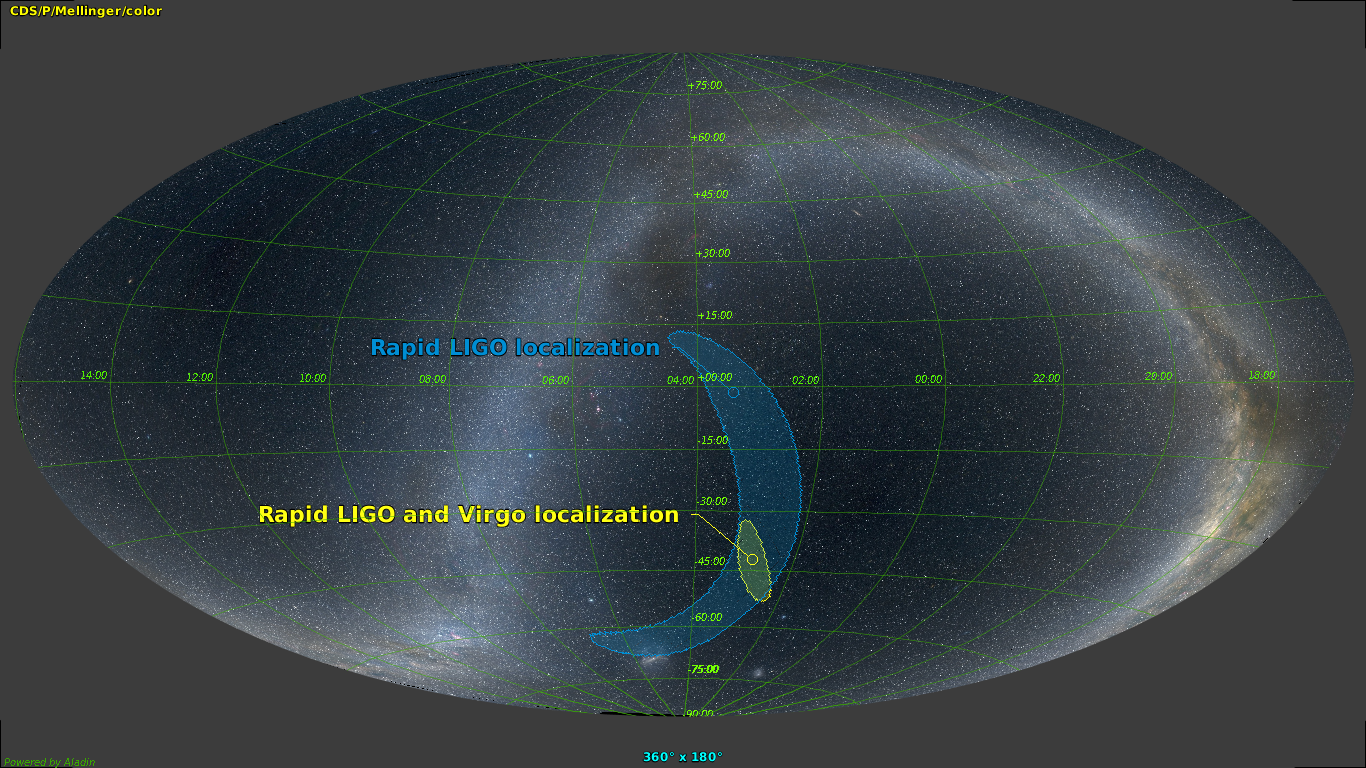 Dne 14. srpna 2017 se podařila čtvrtá detekce gravitačních vln vzniklých při splynutí černých děr. Tentokrát úkaz zaznamenaly tři detektory. Dva z amerického systému LIGO a evropský detektor VIRGO. To umožnilo zatím nejpřesnější určení polohy zdroje