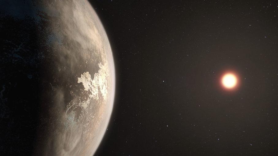 Exoplaneta Ross 128b je zatím nejslibnějším kandidátem na obyvatelný svět v blízkosti Slunce (zdroj ESO, M. Kornmesser).