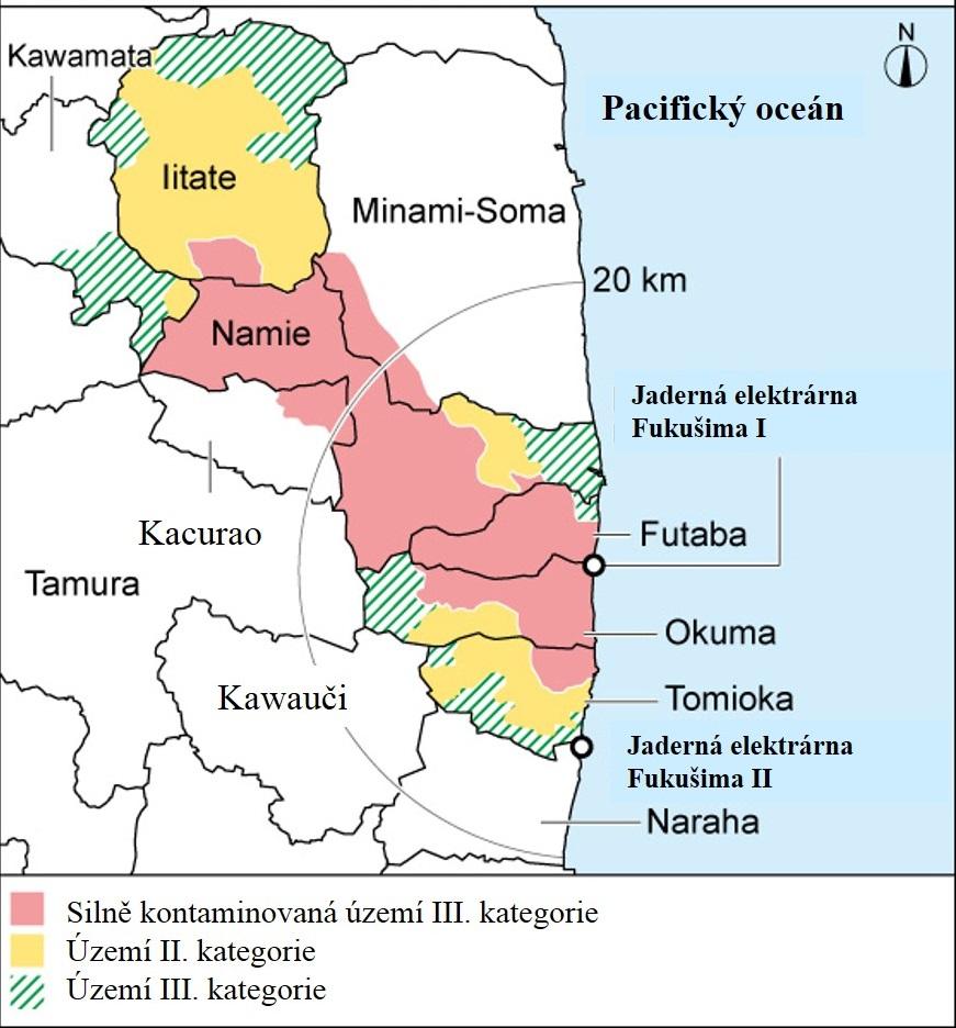 Současná plocha a kategorizace evakuovaných území. Kromě silně kontaminovaných částí III. kategorie by na všech ostatních územích měla být zrušena omezení v roce 2017. Intenzivní dekontaminace a rekonstrukce silně kontaminovanýc