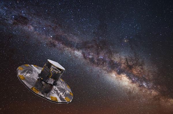 Umělecká představa družice Gaia (Zdroj ESA / ATG medialab; background: ESO / S. Brunier).