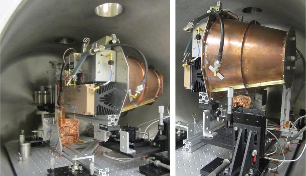 Zařízení testované ve vakuové komoře na torzním kyvadle Johnsonova vesmírného střediska, nalevo pohled zleva a napravo zprava (zdroj H. White, P. March, J. Lawrence, J. Vera, A.Sylvester, D. Brady a P. Bailey: Measurement of Impulsive Thrus