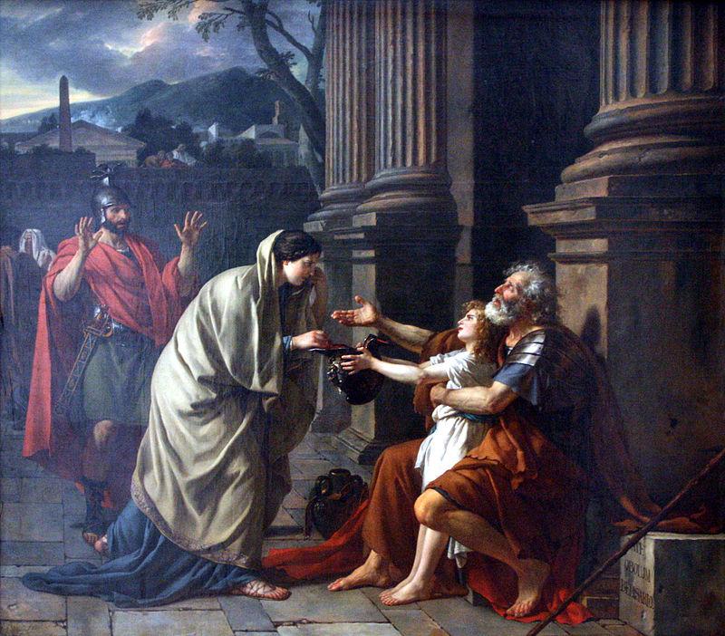 Altruisimus, přinášení almužny potřebným, je zakotven v mnoha kulturách i náboženstvích. (Kredit: Jacques-Louis David)