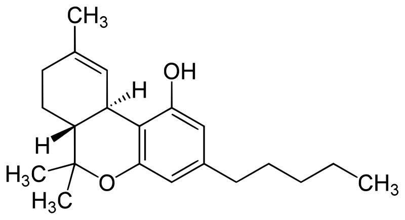 Tetrahydrokanabinol. Kredit: Yikrazuul / Wikimedia Commons.