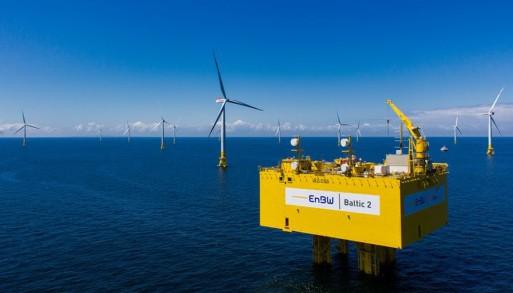 Mořská větrná farma Baltik 2 firmy EnBW má 80 turbín s výkonem 3,6 MW, celkový výkon tak je 288 MW. (Zdroj EnBW).