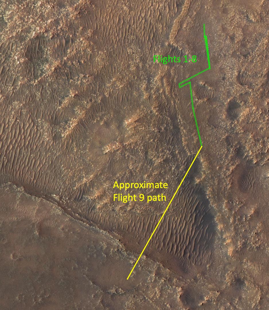 Přibližné trasy jednotlivých letů vrtulníku Ingenuity (zdroj NASA/JPL-Caltech).