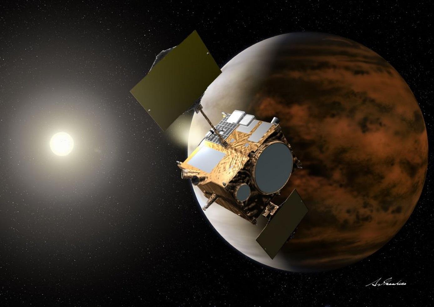 Sonda Akatsuki, která byla vypuštěna k Venuši společně se sluneční plachetnicí Ikaros (zdroj JAXA).