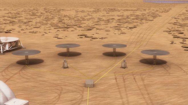 Čtyři reaktory Kilopower na marsovské stanici v představách malíře (NASA/Kilopower).