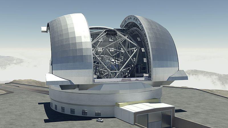 Umělecká představa o vzhledu Velmi velkého dalekohledu, který dokáže zkoumat atmosféru exoplanet (zdroj ESO).