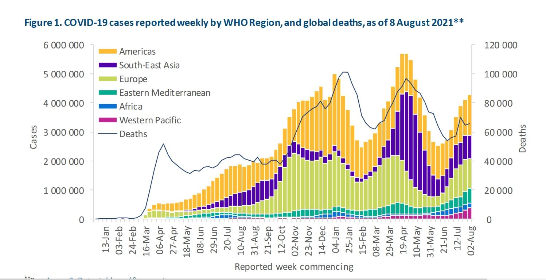 Covid -19 ako na horskej dráhe. Nezdá sa, že by choroba trvalo ustupovala. Zdroj: WHO COVID-19 Weekly Epidemiological Update Edition 52, published 10 August 2021.