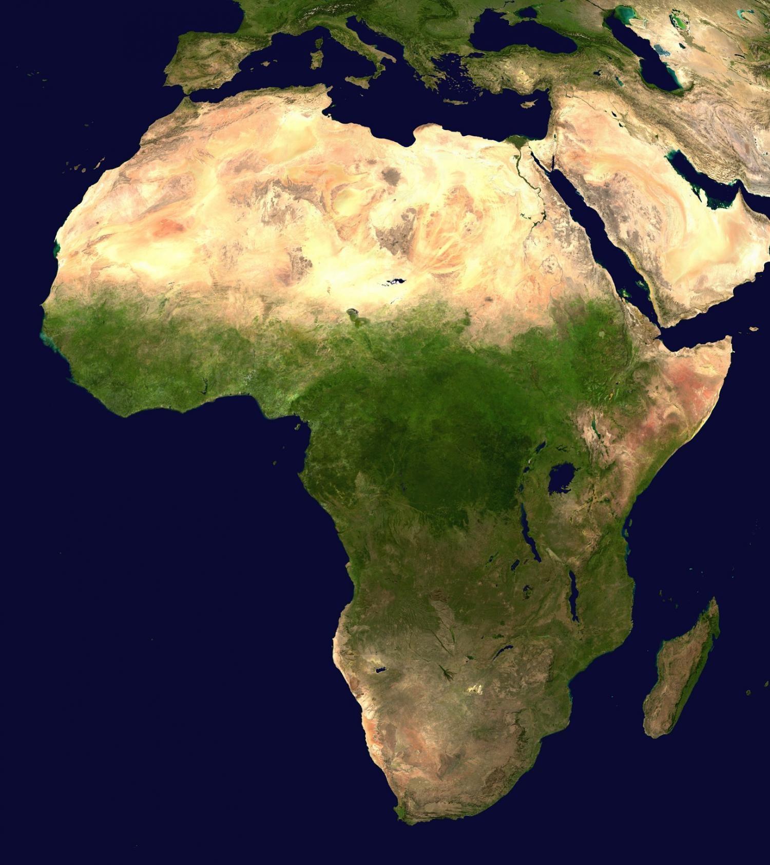 Afrika z pohledu satelitu.Kredit: Public Domain