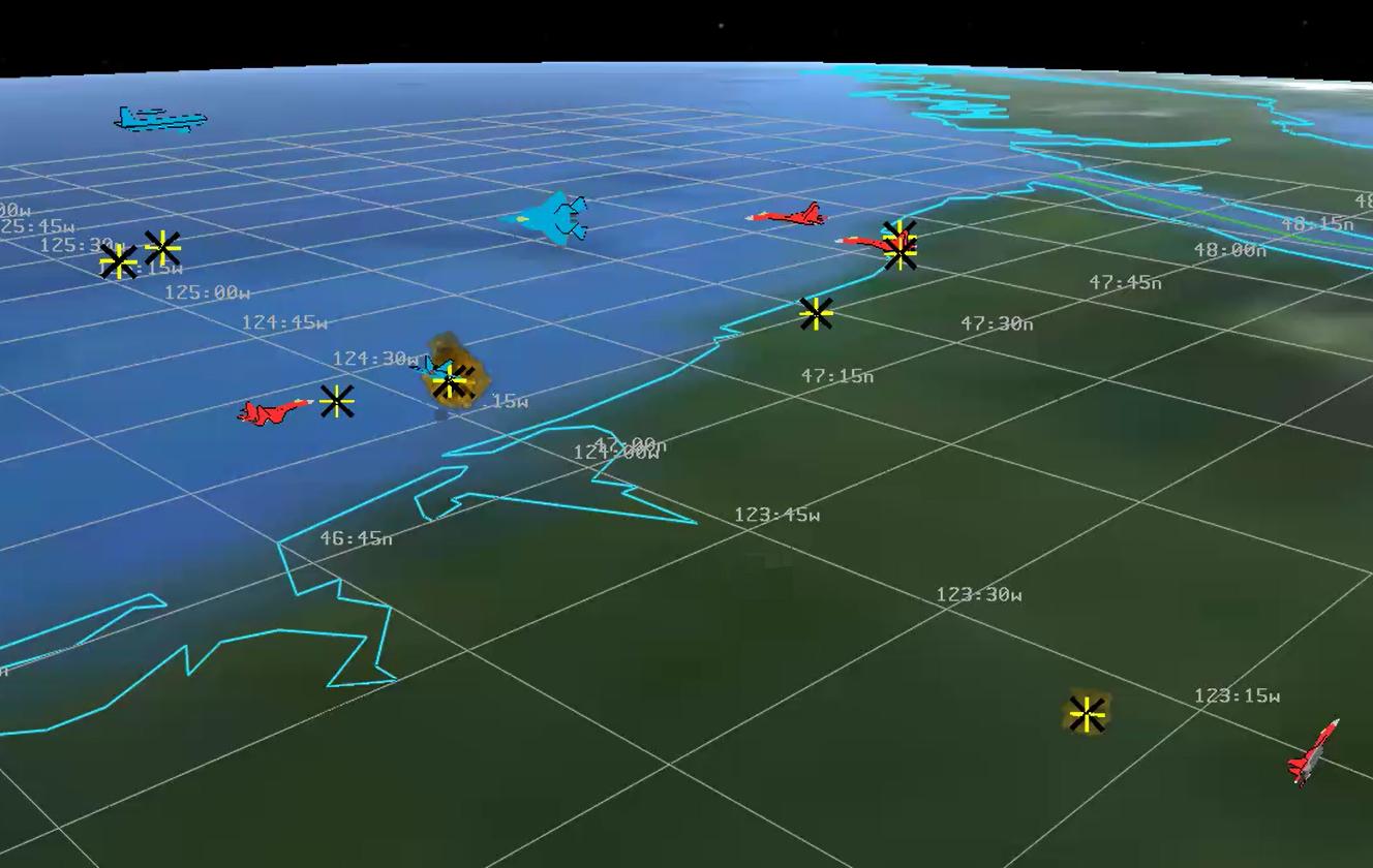 Momentka ze simulace sumělou inteligencí ALPHA. Kredit: Psibernetix Inc.