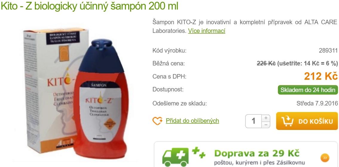 """Lékárnou nabízený KITO-Z, což má být """"šampón pro zdraví"""" se uváděním triclosanu dokonce chlubí. Spolu s uvedením důvěryhodného výrobce ALTA CARE Laboratories to na kupujícího nutně musí působit, že takovou koupí drahého"""