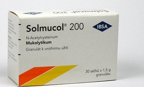 Acetylcysteín, oficiálne predávaný ako liek na zriedenie hlienov.