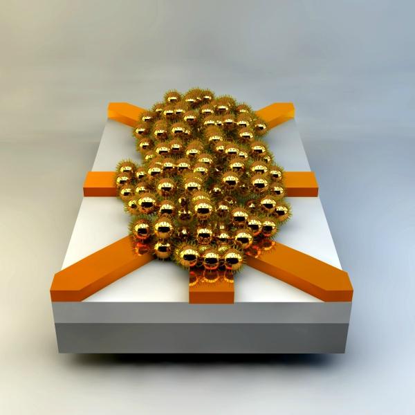 Evoluční čip vytvořený znanočástic zlata. Kredit: University of Twente.