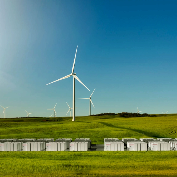 VAustrálii staví největší Li-Ion baterii u větrné farmy. Kredit: Tesla.