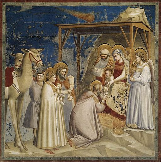 Giotto di Bondone: Freska Klanění Tří králů, roku 1305. Scrovegni Chapel, Padua. Kredit: Web Gallery of Art, Wikimedia Commons.