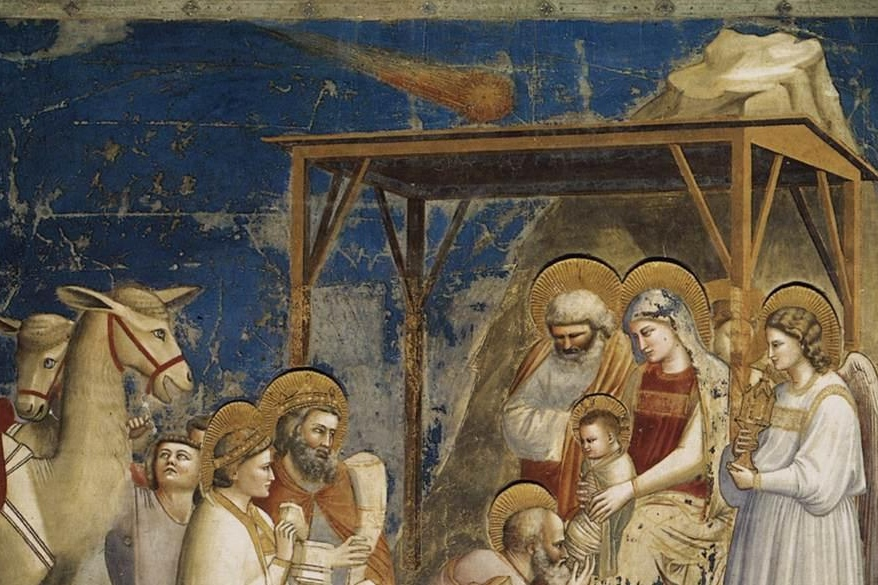 Giotto, detail komety. Kredit: Web Gallery of Art, Wikimedia Commons.