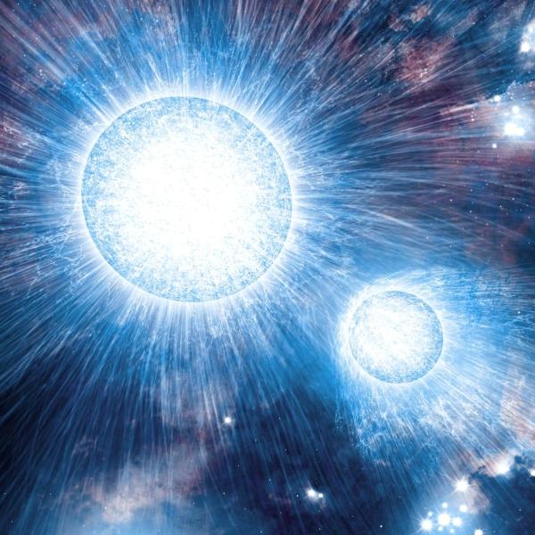 Bouřlivé hvězdné vichry vmasivní dvojhvězdě. Kredit: NASA / C. Reed.