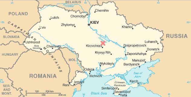 Lokalizace kráteru Boltyš v Kirovohradské oblasti na Ukrajině. Jde o jeden ze zhruba pěti známých kráterů, které by mohly časově přímo souviset s událostí K-Pg. Potvrzeny jsou však pouze dva astroblémy, mexický Chicxulub a právě Boltyš. Kredit: Wikip